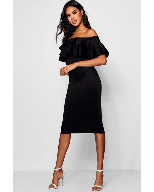 bf90136d07d3 Boohoo - Black Bardot Layered Frill Detail Midi Dress - Lyst ...