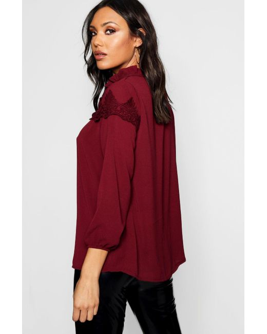 7f4d5cac6ffda4 ... Boohoo - Red Lace Insert High Neck Blouse - Lyst ...