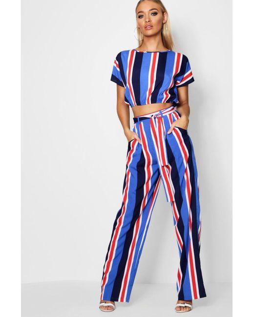 722b4a5337c4 Boohoo - Blue Stripe Woven Wide Leg Trouser Co-ord - Lyst ...