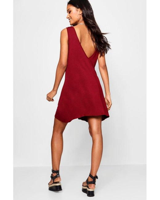 0ec1b1916dd1 Boohoo - Red V Back Swing Dress - Lyst ...