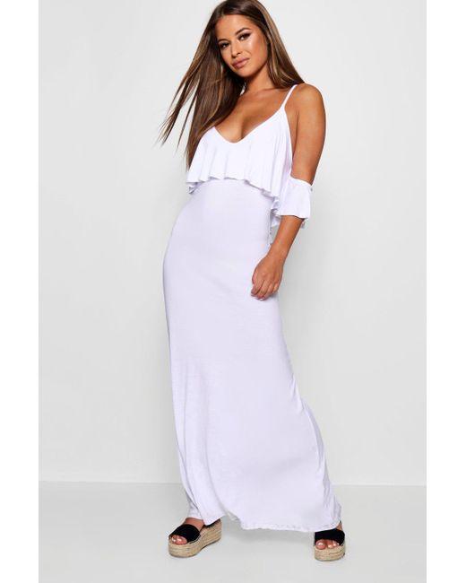 Boohoo - White Petite Kelly Overlay Maxi Dress - Lyst