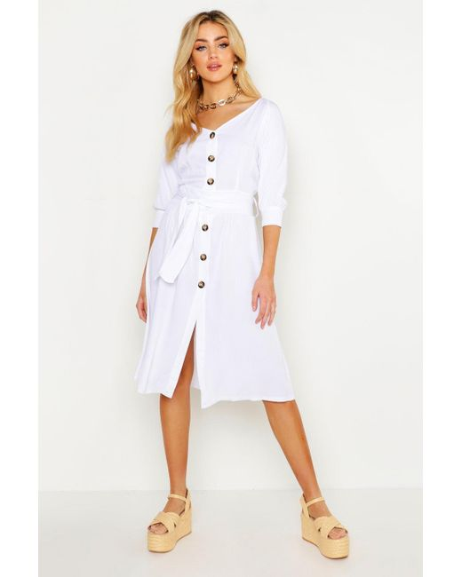 c9b650c70373 Boohoo - White Button Through Belted Shirt Midi Dress - Lyst ...