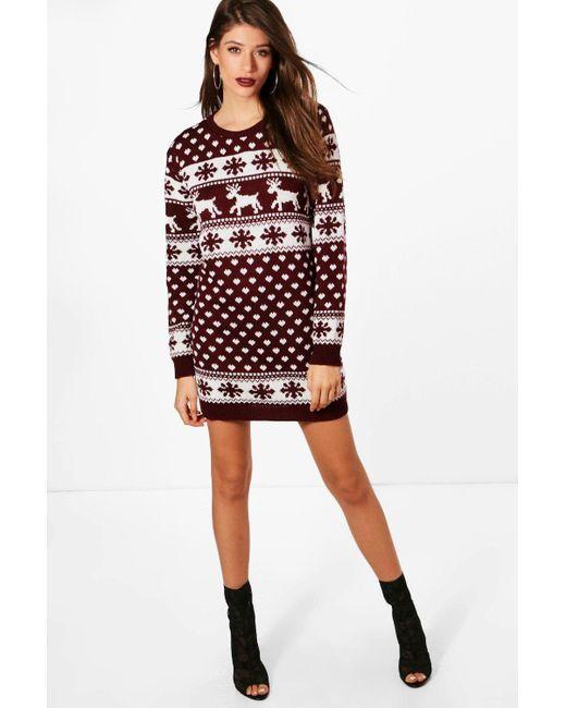 Boohoo - Multicolor Reindeers & Snowflake Christmas Jumper Dress ... - Lyst - Boohoo Reindeers & Snowflake Christmas Jumper Dress