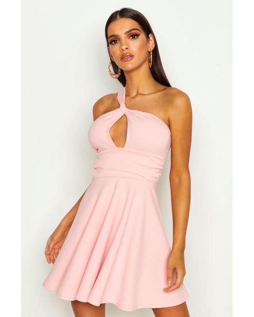 ea122af136f9 Boohoo - Pink One Shoulder Knot Detail Skater Dress - Lyst ...