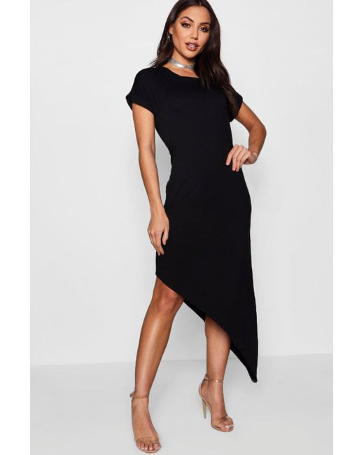 8c27a9fd1ee3 Boohoo - Black Asymmetric T-shirt Midi Dress - Lyst ...