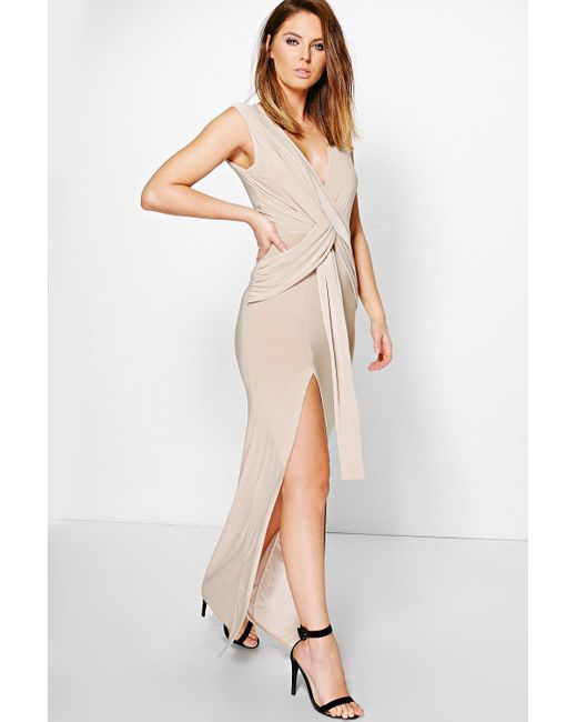 Boohoo - Natural Slinky Plunge Wrap Tie Maxi Dress - Lyst