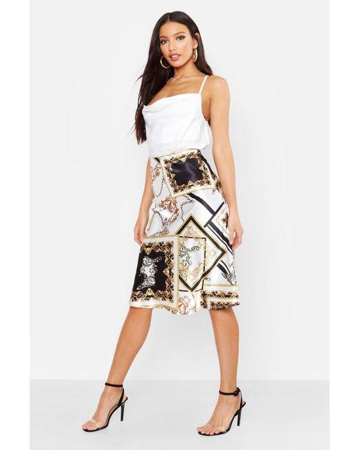 cd86a01e44 Boohoo - Multicolor Bias Satin Chain Print Midi Skirt - Lyst ...