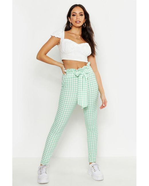 6d1be673374aa Boohoo - Multicolor Paperbag Waist Gingham Trousers - Lyst ...