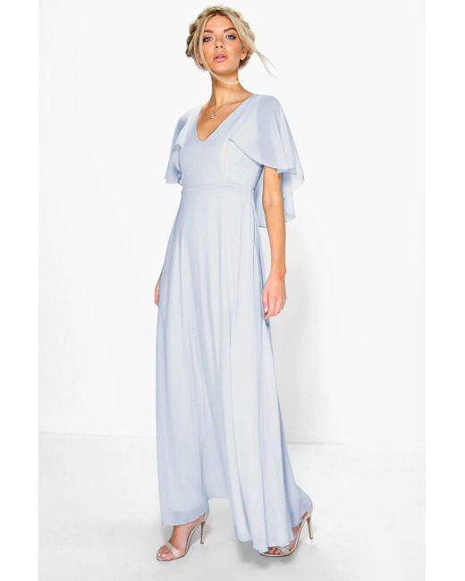 619e00755a8ea Boohoo - Blue Chiffon Cape Detail Maxi Dress - Lyst ...