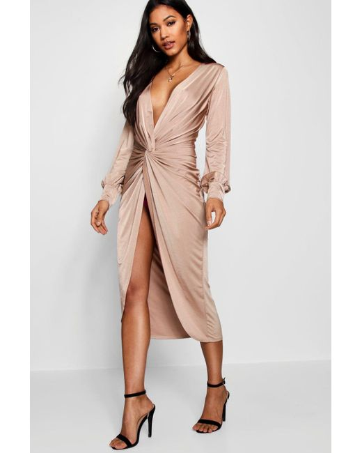 3540cd84e40 Boohoo - Multicolor Twist Front Plunge Slinky Midi Dress - Lyst ...
