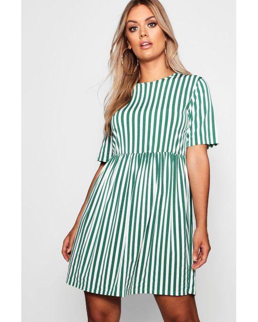 9223c1acee Boohoo - Blue Plus Striped Smock Dress - Lyst ...