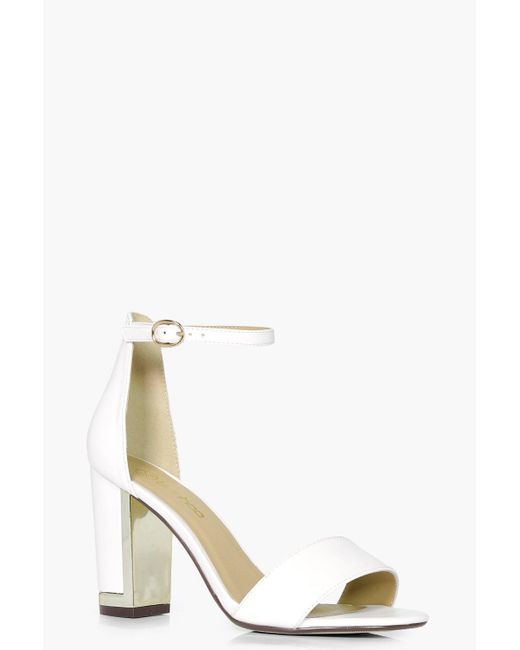 Boohoo | White Mia Wide Fit Gold Plated Block Two Part Heels | Lyst