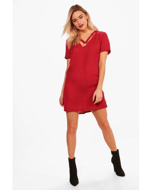 Boohoo - Red Eyelet Cross Strap Shift Dress - Lyst ... f4abc4ba8