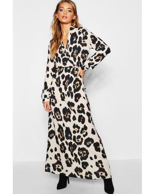 e0262d4838 Boohoo - Multicolor Leopard Print Maxi Shirt Dress - Lyst ...