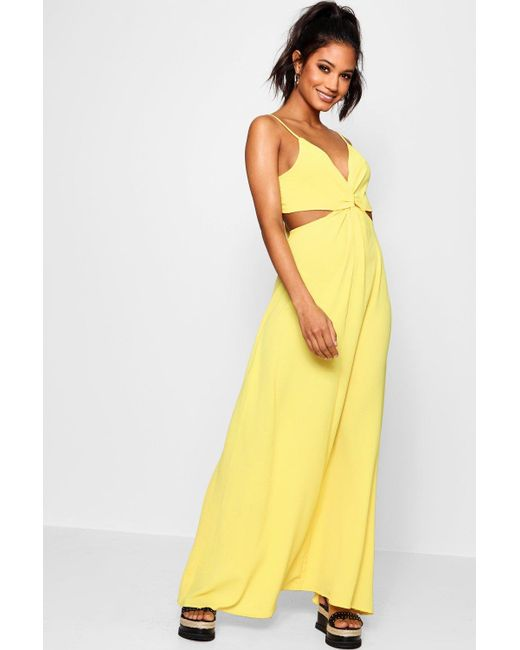Boohoo - Yellow Knot Front Tie Back Maxi Dress - Lyst