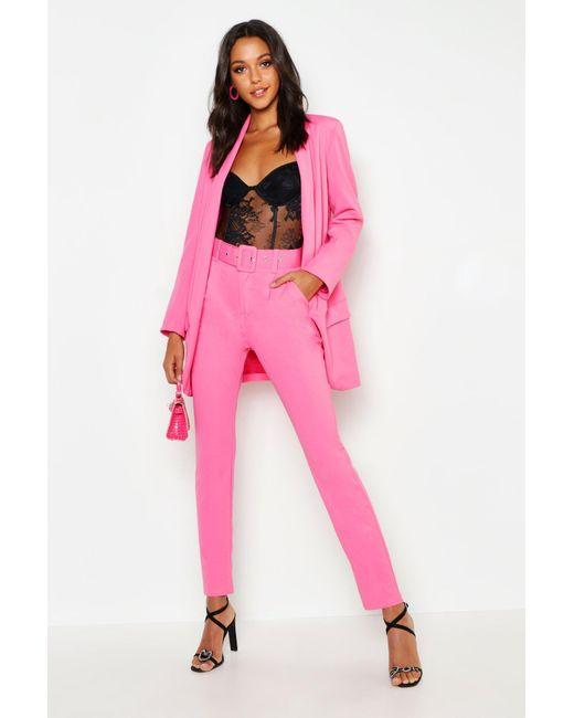 06ae275d3e49 Boohoo - Pink Tall Self Belt Tailored Pants - Lyst ...