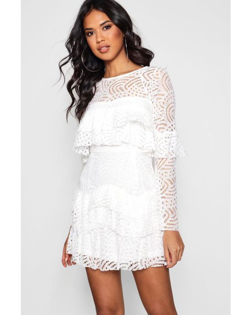 ad3d49b4fd682 Boohoo - White Boutique Lace Ruffle Skater Dress - Lyst ...