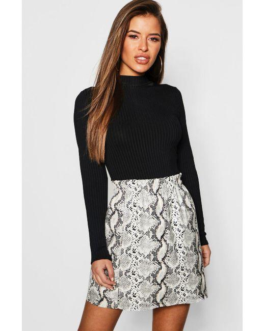 cfada35a9c Boohoo - Black Petite Pu Snake Print Skirt - Lyst ...
