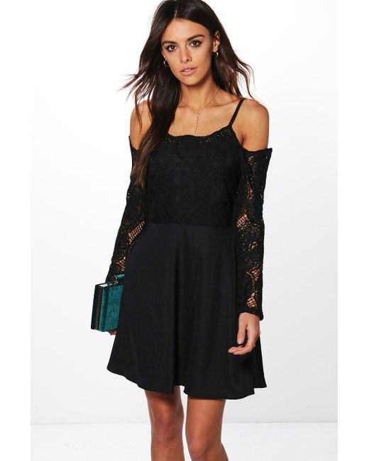Boohoo | Black Boutique Pam Cord Lace Top Skater Dress | Lyst