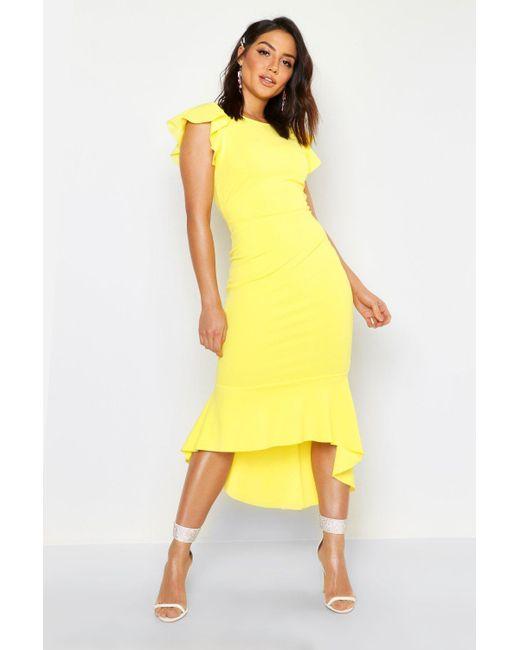 89d26908dd62 Boohoo - Yellow Frill Detail Strappy Back Fishtail Midi Dress - Lyst ...