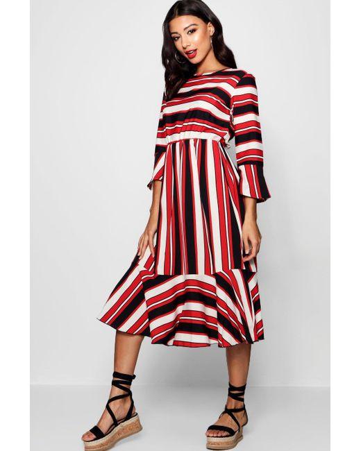Boohoo - Red Nautical Stripe Ruffle Hem Skater Dress - Lyst ... 6a9fd8b94