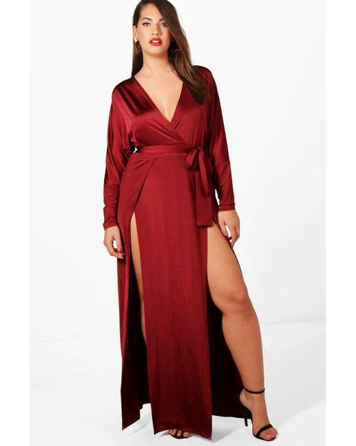 007e2b95612b Boohoo - Red Plus Slinky Plunge Split Maxi Dress - Lyst ...