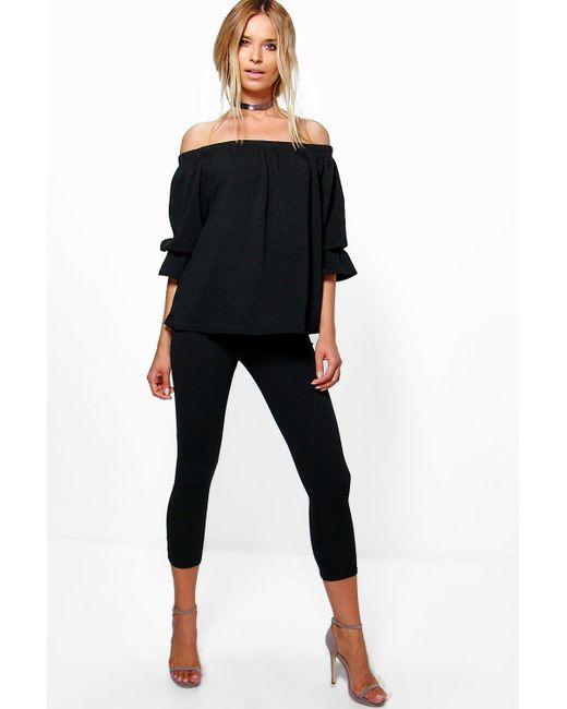 Boohoo | Black Oliva Off The Shoulder Top & Skinny Trouser | Lyst