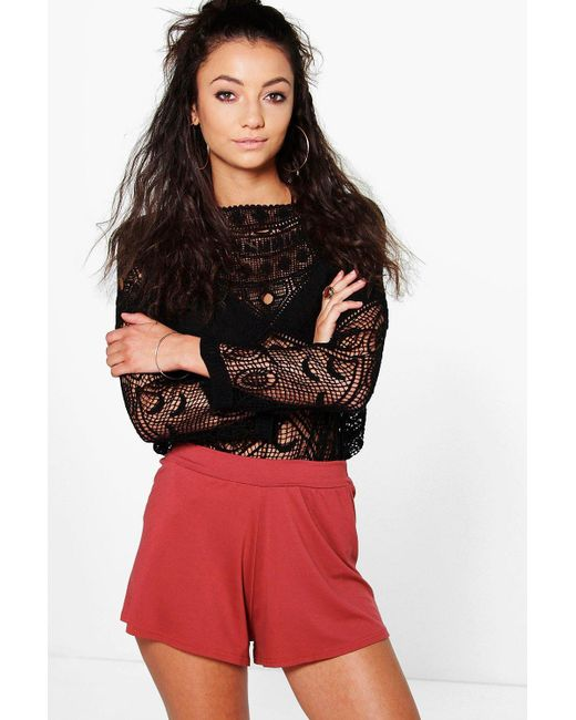 Boohoo - Red Tall Lila Basic Oversized Flippy Shorts - Lyst