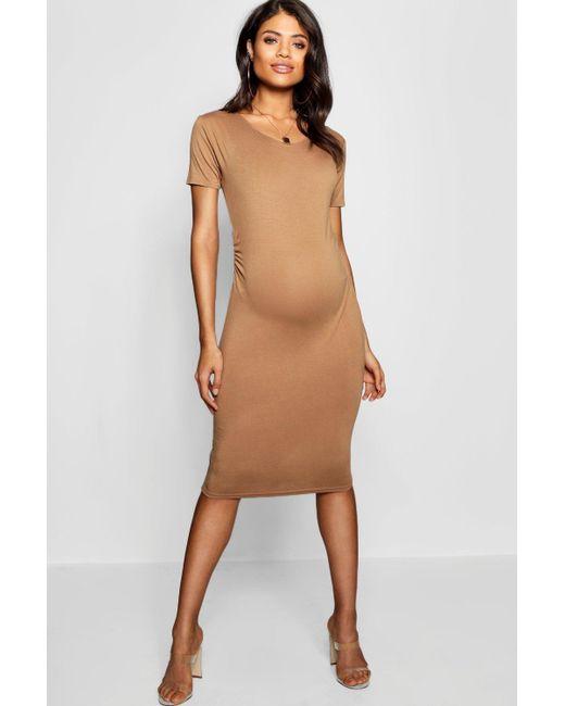 700642b2bc76 Boohoo - Brown Maternity Short Sleeve Midi Dress - Lyst ...