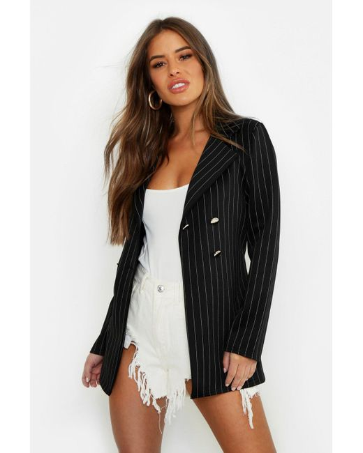 6b8778180167 Boohoo - Black Petite Woven Pinstripe Belted Blazer - Lyst ...