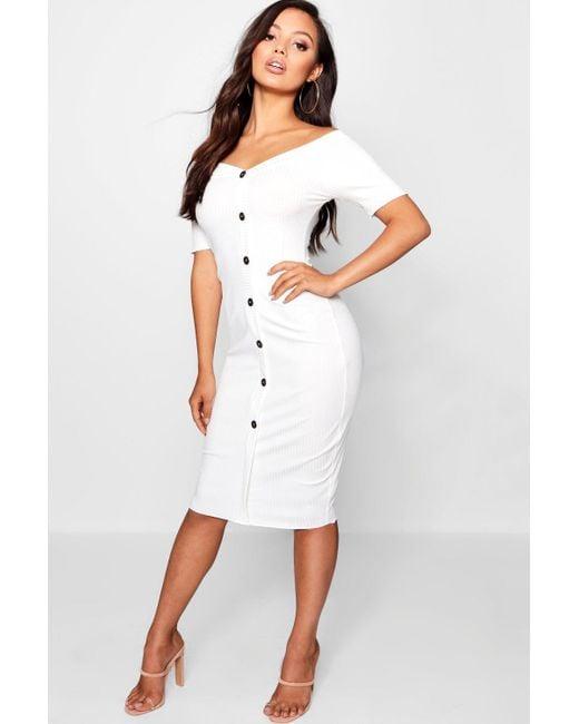 5a94f088f7063 Boohoo - White Petite Rib Sweetheart Bardot Midi Dress - Lyst ...