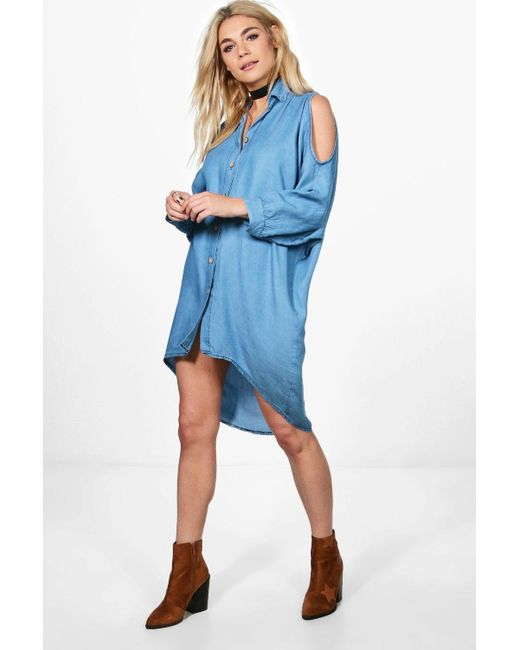 Boohoo   Blue Louise Oversized Cold Shoulder Denim Dress   Lyst