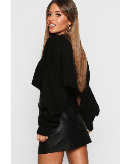 43b835e984 ... Boohoo - Black Petite Mock Horn Button Faux Leather Mini Skirt - Lyst  ...