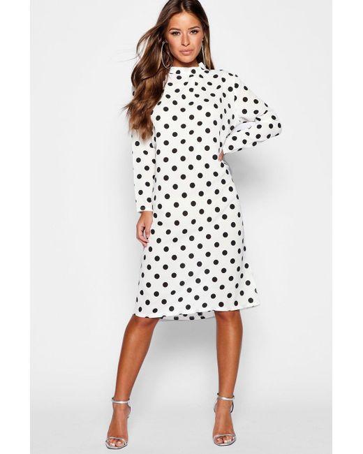 d0e7868407eb5 Boohoo - White Petite Spot Print High Neck Midi Dress - Lyst ...