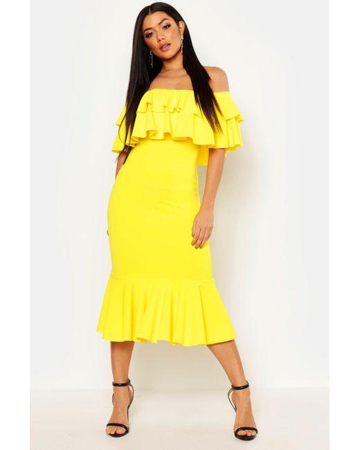 1897b987f308 Boohoo - Yellow Off The Shoulder Double Frill Midi Dress - Lyst ...