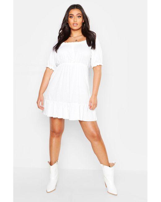 5d5a24085cd9c Boohoo - White Plus Rib Ruched Ruffle Skater Dress - Lyst ...
