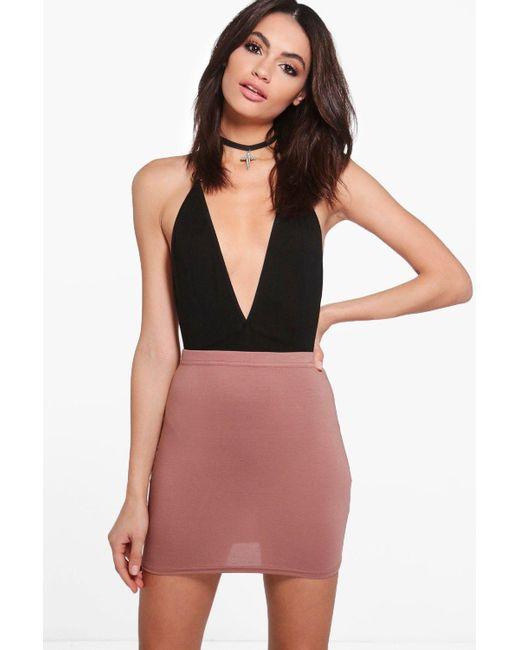 9c160198ec Boohoo - Natural Basic Jersey Mini Skirt - Lyst ...