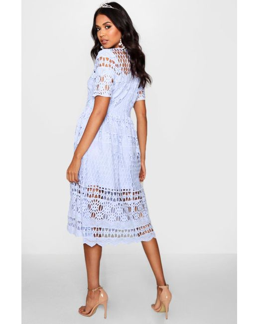 4b7007e649eb ... Boohoo - Blue Boutique Corded Lace Panelled Skater Dress - Lyst