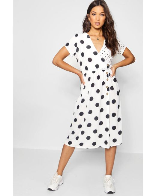 cde94a32fb Boohoo - White Mixed Polka Dot Button Front Midi Dress - Lyst ...