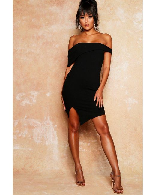 ed480c13bf96 Boohoo - Black Asymmetric Fold Over Bodycon Dress - Lyst ...
