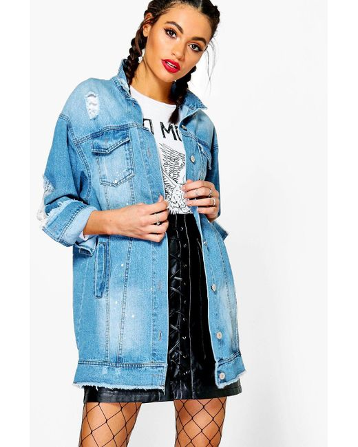 Boohoo | Blue Lia Paint Splatter Distress Long Line Denim Jacket | Lyst