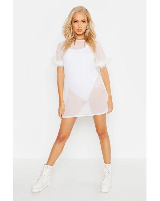 622db58b040c Boohoo - White Feather Trim Mesh T-shirt Dress - Lyst ...