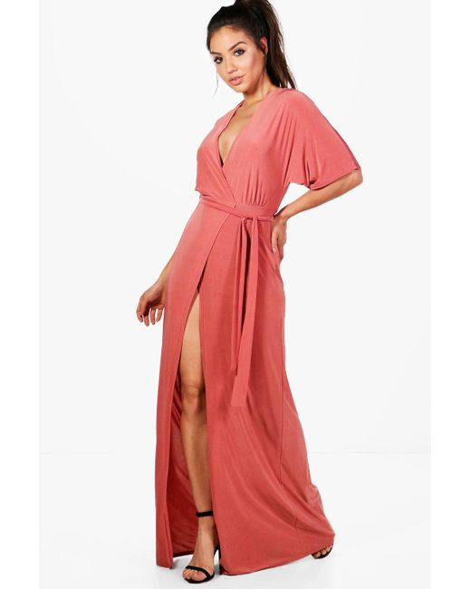 Boohoo - Pink Kimono Sleeve Wrap Maxi Dress - Lyst