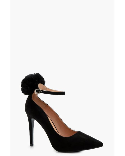 Boohoo | Black Josie Faux Fur Pom Trim Ankle Court Shoe | Lyst