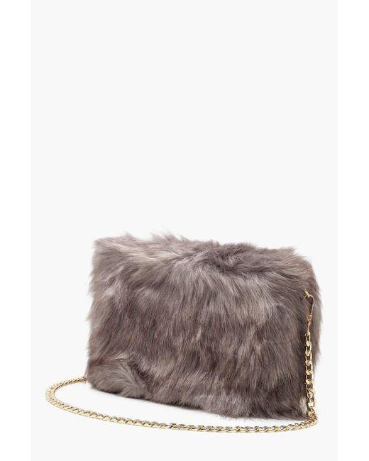 a1fff51b5c7c ... Boohoo - Gray Faux Fur Cross Body Bag - Lyst ...