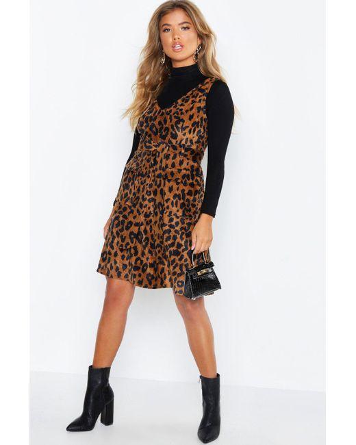 e1d79ccc984b Boohoo - Brown Leopard Print Cord V Neck Pocket Detail Belted Mini Dress -  Lyst ...