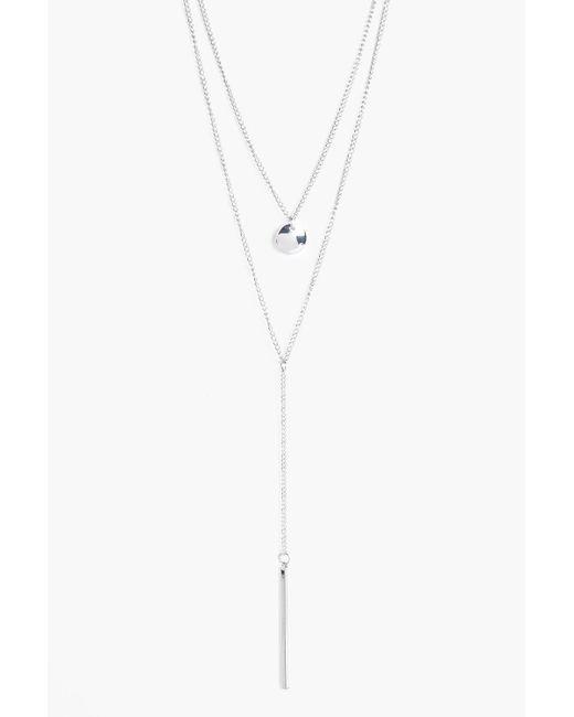Boohoo - Metallic Layered Plunge Necklace - Lyst
