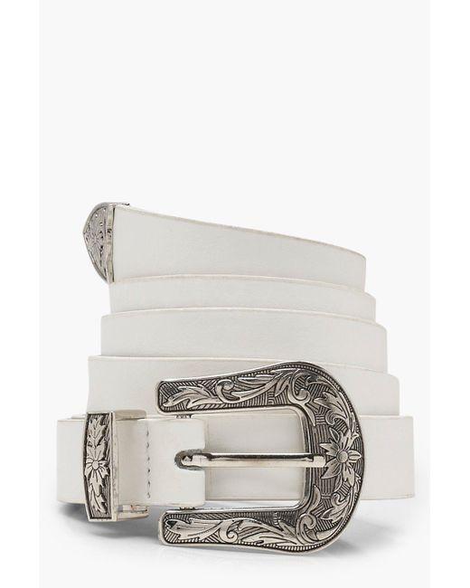Boohoo - White Plus Western Buckle Belt - Lyst