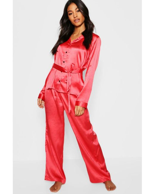 272548b0d8 Boohoo - Red Satin Button Through Tie Front Pj Set - Lyst ...