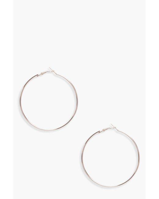 Boohoo - Metallic Plain 6.5cm Hoop Earrings - Lyst
